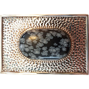 Vintage Studio Art Black Spotted Jasper Sterling Silver Belt Buckle