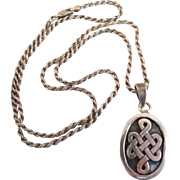 Vintage Irish Celtic Knot Motif Heavy Sterling Silver Unisex Necklace