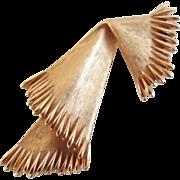 Vintage Crown Trifari Goldtone Folded Scarf Pin Brooch