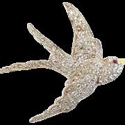 Vintage Art Deco Era Flying Swallow Bird Paste Rhinestone Pin Brooch