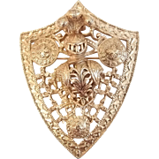 Vintage Large Dimensional Goldtone Heraldic Shield Armor Pin Brooch