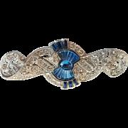 Vintage Art Deco Era Carved Blue Glass Paste Rhinestone Pin Brooch