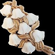 Vintage Trifari Goldtone Molded Lucite Bell Flower Pin Brooch