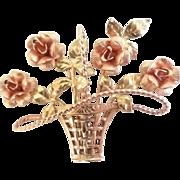 Vintage Krementz Rose Gold Filled Flower Basket Pin Brooch