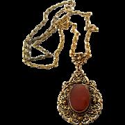 Vintage Danecraft Sterling Silver Vermeil Filigree Carnelian Necklace