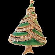 Vintage JJ Rhinestone Enamel Christmas Tree Pin Brooch