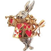 Hold for Olga       White Rabbit Hearts Figural Pin Brooch Pendant