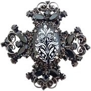Vintage Juliana D&E Black Rhinestone Maltese Cross White Transfer Floral Pin Brooch