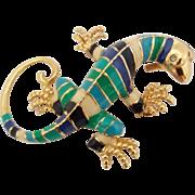 Vintage Gecko Lizard Figural Colorful Striped Enamel Goldtone Pin Pendant