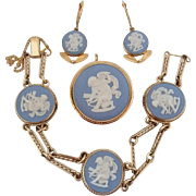 Vintage Wedgwood Cupid Angel Jasperware Gold Filled Van Dell Pin Pendant Bracelet Earrings Set