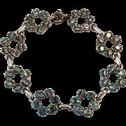 Vintage German Iris Rainbow Glass Rhinestone 835 Silver Circle Link Bracelet