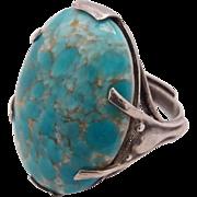 Vintage Sterling Silver Mottled Turquoise Art Glass Cabochon Adjustable Ring