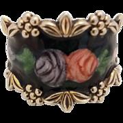 Vintage Vargas Sterling Silver Enamel Roses Fancy Wide Cigar Ring