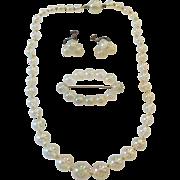 Vintage Lucite Soap Bubbles Necklace Earrings Pin Set