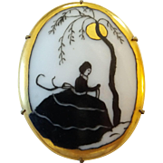 Vintage Hand Painted Porcelain Lady In Moonlight Pin Brooch