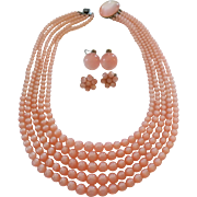 Vintage Richelieu Pink Moonglow Lucite Five Strand Bead Necklace Earrings Set