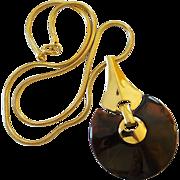 Vintage Trifari Big Retro 1970's Modernist Big Tortoise Swirl Lucite Pendant Necklace