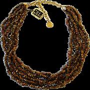 Vintage Hobe Bronze Glass Five Strand Necklace Original Tags