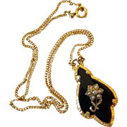 Vintage PS CO. Gold Filled Faux Seed Pearl Pendant Lavaliere Necklace
