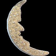 Vintage Art Deco Era Figural Potmetal Paste Rhinestone Crescent Moon Pin Brooch