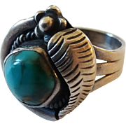 Vintage Native American Sterling Silver Turquoise Ring Size 5 1/2