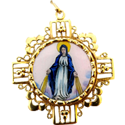 Vintage Spanish 14K Gold Filigree Enamel Catholic Religious Miraculous Mary Sacred Heart Medal