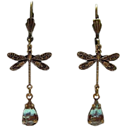 German Saphiret Glass Dragonfly Figural Dangle Leverback Earrings