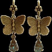 German Saphiret Glass Butterfly Figural Dangle Leverback Earrings