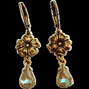 German Saphiret Glass Oxidized Brass Floral Dangle Leverback Earrings