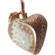 Vintage Carved Lucite Jelly Belly Sterling Strawberry Figural Fruit Pin Brooch