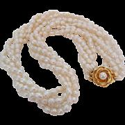 Vintage Fresh Water Cultured Pearl Torsade Bridal Wedding Necklace Rose Clasp