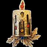 Vintage ART Rhinestone Christmas Candle Pin Brooch
