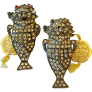 Vintage Set Pair Of LN/25 Nemo Art Deco Urn Shape Dress Clips Tagged On Original Card