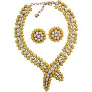 Vintage Crown Trifari Yellow & Faux Pearl Cabochon Bypass Necklace Clip Earrings Set