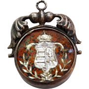 Antique Vintage Silver Reverse Carved Art Glass Foil Coat of Arms Fob Charm