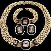 Vintage Trifari Goldtone Black Enamel Rhinestone Necklace Earring Bracelet Set