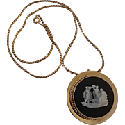 Vintage Gold Filled Wedgwood Black Jasperware Pin Brooch Pendant on Chain
