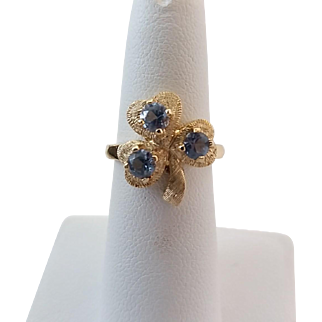 Vintage 14k Yellow Gold Aquamarine Shamrock Clover Ring Size 6