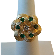 Vintage 14k Gold Diamond Emerald Rosette Swirl Ladies Ring Size 6 3/4""