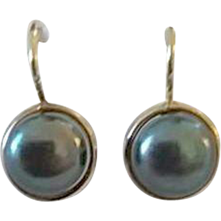 Vintage 14k Yellow Gold Gray Cultured Pearl Leverback Pierced Earrings