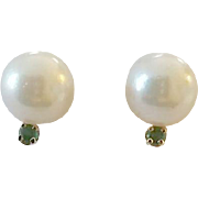 Vintage 14k Gold Cultured Pearl with Tiny Emerald Pierced Earrings