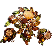 Vintage Gorgeous Green & Brown Art Glass Brooch Pin Earrings Set