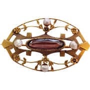 "Antique 10k Gold Amethyst Seed ""tooth"" Pearls Pin Brooch ""Remember Me When Far Away"""