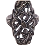 Vintage Art Deco Era Sterling Silver Marcasite Ring