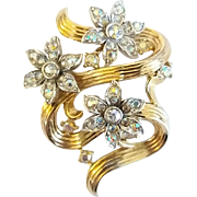 Vintage Trifari Aurora Borealis Starflower Rhinestone Swirl Brooch Pin