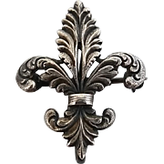 Vintage Sterling Silver PS Co, Fleur Di Lis Watch Pin Brooch