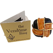 Vintage Enamel Vendome Adjustable Ring with Tags