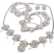 Vintage Rhodium Sterling Silver Marcasite Roses Pin Necklace Bracelet Earrings Set