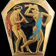 Vintage French Art Deco Era E. Bouillot Enamel Neoclassical Figures Pin Brooch
