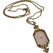 Vintage 1977 Avon Frostlights Pendant Necklace Frosted Pink Camphor Glass Rhinestone